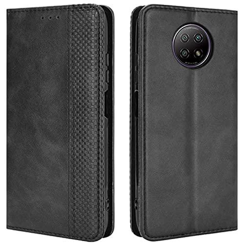 HualuBro Handyhülle für Xiaomi Redmi Note 9T Hülle, Retro Leder Stoßfest Klapphülle Schutzhülle Handytasche LederHülle Flip Hülle Cover für Xiaomi Redmi Note 9T 5G Tasche, Schwarz