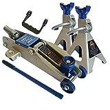 Vetrineinrete® Kit cric a Carrello e Coppia di cavalletti per Auto 2,5 tonnellate Sollevatore Idraulico con Manico Z32
