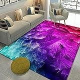 Plumas de Degradado Tendencia Pastel Diseño Geométrico Inspiración Multicolor, Alfombra de Moda Estrella Accesorios de Moda, 160X230CM(63X90inch)