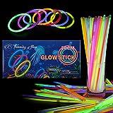Trimming Shop Barritas Luminiscentes Brazaletes Cinta de Muñeca Neón Collar para Cumpleaños Favores de Fiesta Disco 8 Pulgadas con Conectores Multicolor, 100pcs