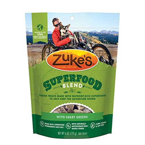 Zuke's SuperFood Blend Natural Dog Treats With Great Greens – 6.0 oz Bag