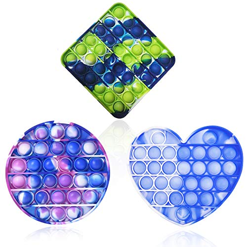 3PCS Silicone Tie-dye Push pop Bubble Fidget Toy, Silicone Stress and Anxiety Relief Squeeze Sensory Toy, Squeeze Sensory Toy Great for Kids Adults