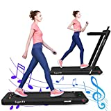 GYMAX 2 in 1 Folding Treadmill, 2.25HP Under Desk Electric Pad Treadmill, Portable Walking Jogging Running Machine, Motorized Flat Treadmill with Audio Bluetooth Speakers, Remote Controller (Black)
