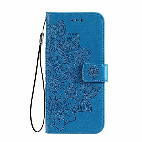 LINER Leder Hülle für vivo Y72 5G/vivo Y52 5G Siebenblättrige Blume Geprägte Klapphülle, Premium PU Folio Brieftasche Stoßfest Schutzhülle Handyhülle mit Kartensteckplätze/Standfunktion, Blau