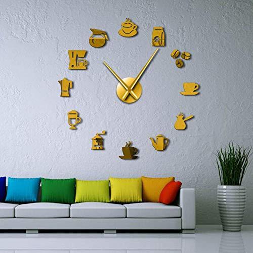 Hogar Taza de café Arte de la Pared Cafetería DIY Reloj de Pared Gigante Cafe House DIY Pegatinas Decorativas Manos Grandes Sin Marco Reloj Grande Reloj