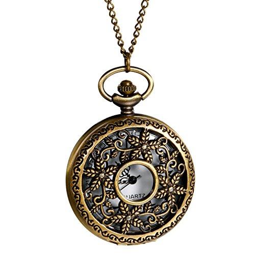 lancardo reloj bolsillo de cuarzo reloj números con cadena aleación bronce