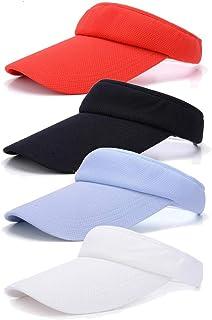 4 Pieces Sun Visor Sports Cap Adjustable Visor Sport Wear Athletic Mesh Visor Hat for Men Women Kids Girl Boy