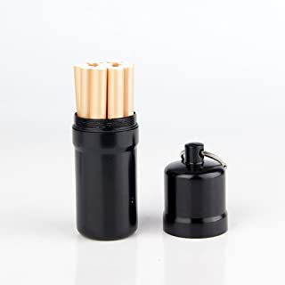 Joint case,Aluminum Cigarette Case Holder with Key Ring Waterproof Round Cigarettes Pocket Box (Black - Large)