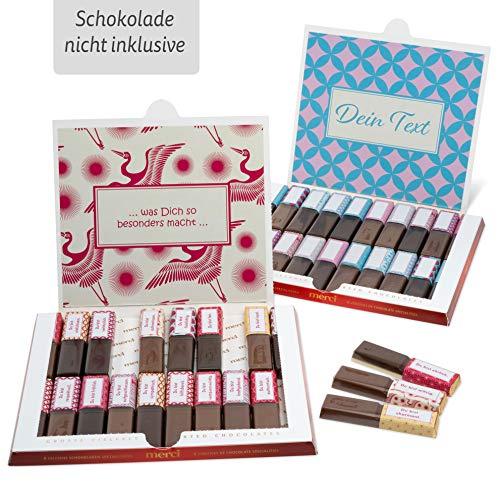 Netti Li Jae ® Aufkleber Set für Merci Schokolade für 2 persönliche Geschenke: Das persönliche Dankeschön und kreative Geschenkidee (Freundschaft)