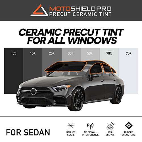 Motoshield Pro Precut Ceramic Tint Film [Blocks Up to 99% of UV/IRR Rays] Window Tint for Sedan...