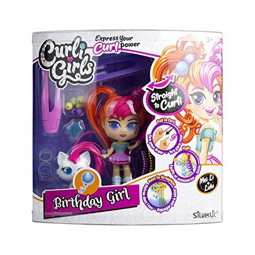 Curli Girls 82097 - Set de belleza – Muñeca y mascota – Pelo mágico – Multicolor – Muñeca 15 cm – Animal 6 cm, modelos surtidos