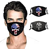 Punish-er Red Logo American Flag Face Mask Washable 2pc with 4 Filters Reusable for Man and Woman