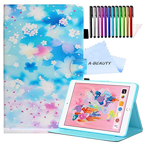 "A-BEAUTY Case Fit New iPad 7th Generation 10.2"" 2019 / iPad 10.2 Case - [Auto Sleep/Wake] Slim Lightweight Smart Shell Stand Cover with Free Pen, Petal Rain"