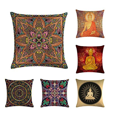 Yi Tong Set of 6 Decorative Pillow Covers Square Cushion Cover Linen Throw Pillow Covers Home Decor for Sofa Car Bedroom 45Cmx45cm (18'X18),(Buddha Statue, Geometric Flower