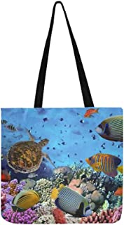 Colorful Coral Reef Many Fishes Sea Canvas Tote Handbag Shoulder Bag Crossbody Bags Purses For Men And Women Shopping Tote