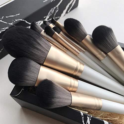 Pinceau De Maquillage Pinceau En Vrac Poudre Couleur Poignée Blush Brush Foundation Brush, 12 Pearl White