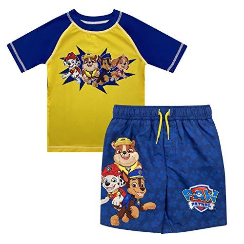 Paw Patrol Skye Rubble Marshall Chase Little Boys Rash Guard Swim Trunks Set Yellow-Blue 5-6