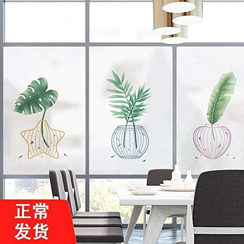 Planta verde etiqueta de vidrio ventana etiqueta de puerta de vidrio película...