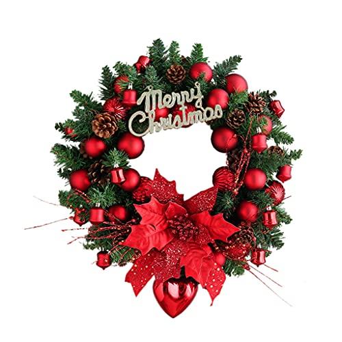 XIN CHANG LWH Corona de Navidad de Hoja de Arce, Otoño Bayas Rojas escaleras para el hogar Guirnalda de Navidad al Aire Libre Ventana de Pared Espeluznante Adornos de Halloween decoración Colgante