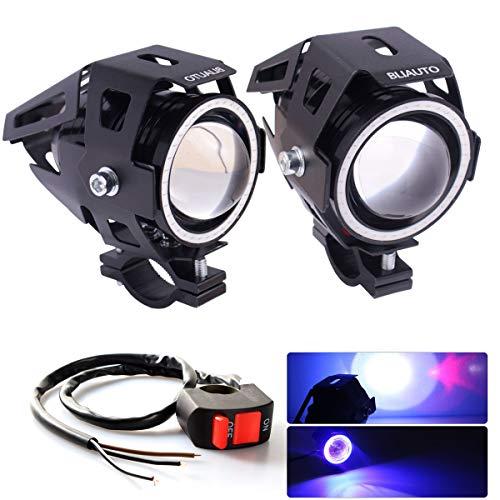 BLIAUTO Motorcycle Headlight Cree U7 Fog Lights Universal Front Spot Halo Ring Work Lamp Hi/Lo Beam With Switch for ATV UTV Trucks(2PCS, White Angle Eye)