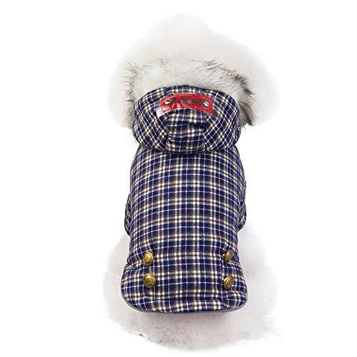 TLLW Hunde-/Katzenkleidung, für Herbst und Winter, Dicke Baumwolle, Yinglan, Karomuster, für Weihnachten, Hund, Weihnachten, Dekoration, Hundekostüme
