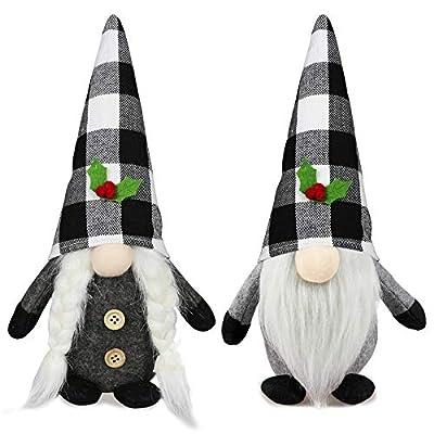 2Pcs Christmas Gnomes Plush Set- Christmas Decorations - Mr and Mrs Handmade Swedish Tomte Santa Decor - Christmas Holiday Elf Gnomes Decor Ornaments- Xmas Holiday Home Decor 11Inch