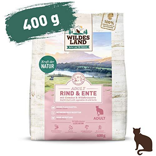 Wildes Land | 400 g | Trockenfutter für Katzen | Rind und Ente | Getreidefreie Rezeptur | Hoher Fleischanteil | In Deutschland zubereitet | Hoher Eiweißanteil | Natürliche Zutaten