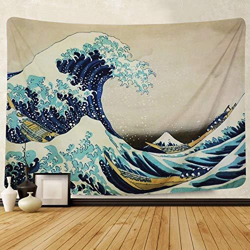 """Amkun, Arazzo, Da parete, Stampa della """"Grande onda"""" di Kanagawa, Decorazione domestica, Per il soggiorno o la camera da letto, Adatto anche come telo da spiaggia, Wave, 150x130cm"""