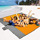 POPCHOSE Sandfree Beach Blanket, 83 X78 inches Sandproof Beach Mat for 4 Adults, Waterproof Pocket Picnic Blanket with 6 Stakes, Outdoor Blanket for Travel, Camping, Hiking
