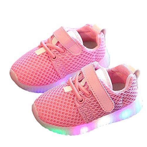 LED-Schuhe für Kinder von Favolook, für Babys, Jungen und Mädchen, Blinklicht in der Sohle, zum Laufenlernen, Pink - rose - Größe: 38 2/3 EU