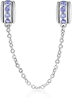 Safety Chain Charm 925 Sterling Silver Clip Stopper Charm Spacer Charm for Pandora Charm Bracelet (Light Blue)