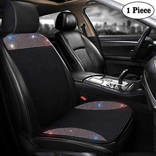 dayutech 1 Piece Universal Breathable Mesh Front Car Seat Cover Protector Pad Mat for Women Girls with Bling Bling Crystal Rhinestones Diamond Four Season (Front Seat 1 Piece Set)