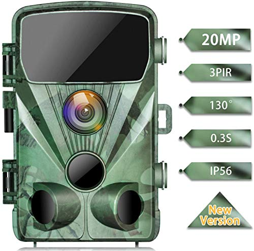 TOGUARD Wildlife Camera 20MP 1080P Trail Game Cameras with Night Vision 130° Detection Motion Activated Waterproof Wildlife Hunting Cam with 0.3s Trigger Speed 2.4' LCD IR LEDs