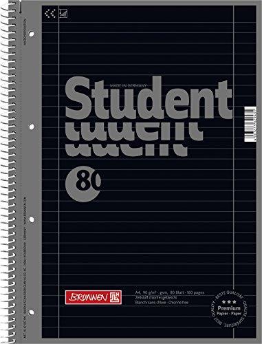 Brunnen 1067927190 Notizblock / Collegeblock Student Colour Code (A4 liniert, Lineatur 27, 90 g/m², 80 Blatt) schwarz