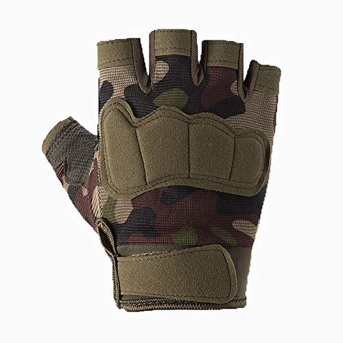 Pomety Outdoor Tactical Mezza Finger Gloves Special Forces Sport Moto Fitness Primavera ed Estate Escursioni in Sella Guanti Traspiranti Uomo (Color : Camouflage, Dimensione : M)