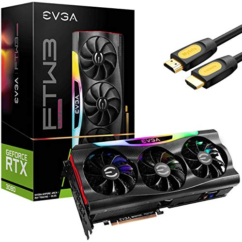 EVGA GeForce RTX 3080 FTW3 Ultra Gaming Graphics Card, 10GB GDDR6X, VR Ready, PCIe 4.0,...