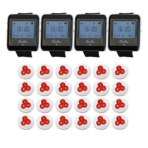 QPLKL Aerografías y Accesorios. 4 Receptores de Relojes 24 Call Pager Wireless Waitter Service Sistema de Llamadas para el Sistema de Pager Restaurant