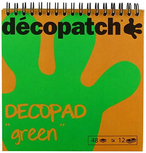 Décopatch BLOC05O Décopad Block (praktisch und einfach zum Verwenden, 48 Blatt, 12 verschiedenen Motiven, 15 x 15cm, ideal für Ihre Pappmachés und Bastelprojekte) 1 Block grün