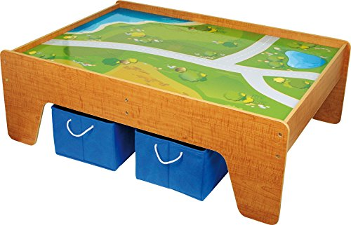 small foot 2232 Spieltisch aus Holz, mit Textiloberfläche, inkl. zwei Boxen aus Textil für mehr Stauraum, ab 3 Jahren