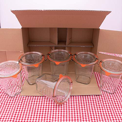 WECK Quadroglas 1/2L Einmachglas 500ml verwendbar als Marmeladenglas, Vorratsglas, Konservenglas 6 Stück