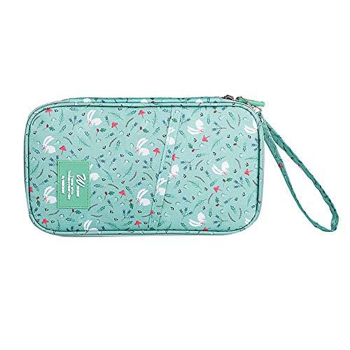 YUnnuopromi - Tarjetero para pasaporte, impermeable, diseño floral, para viajes, cosméticos, bolsas de maquillaje verde verde