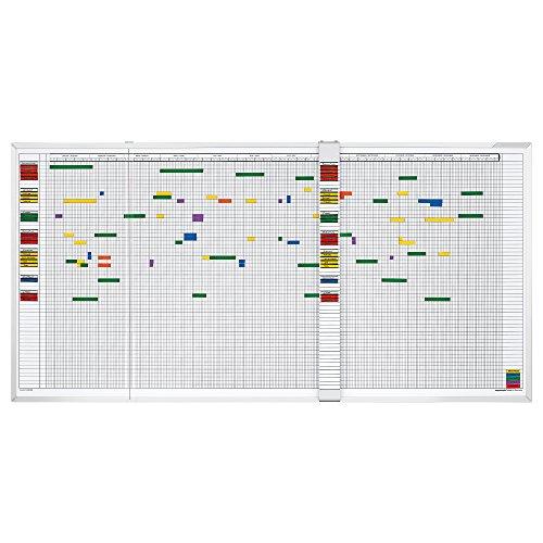 magnetoplan Aktivitäten und Urlaubsplaner, 5-Tage-Woche, weitere Größen auswählbar für 30 Mitarbeiter Aluminiumrahmen, 150 x 45 cm, weiß