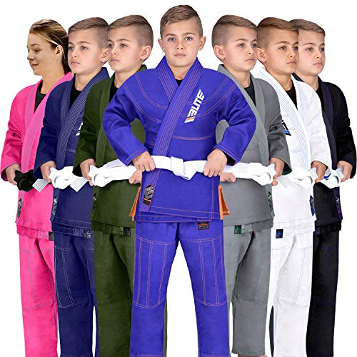 Elite Sports IBJJF Ultra Light BJJ Brazilian Jiu Jitsu Gi for Kids with Preshrunk Fabric and Free Belt, C1, Blue