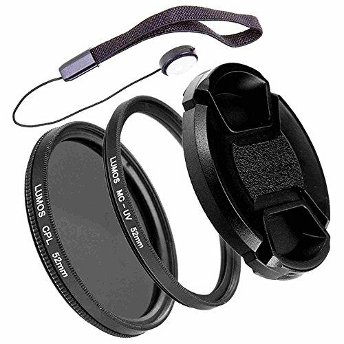 LUMOS PRO Slim Filterset 52mm | Polfilter zirkular MC UV Filter Objektivdeckel | Zubehör Set für Kamera Objektiv Ø 52 mm