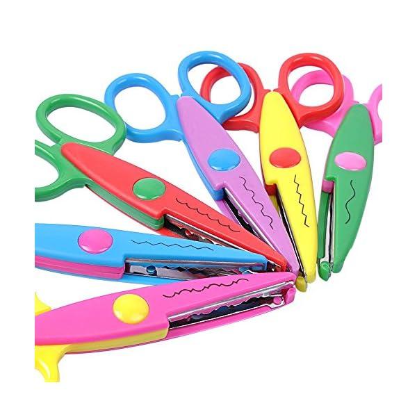 UCEC® Set de 6 Tijeras Coloridas Decorativas, Tijeras Dentadas de Diferentes Diseños Para Manualidades, Ideal Para Usos de Estudiantes, Profesores, Para Cortar Papeles o Cartulinas
