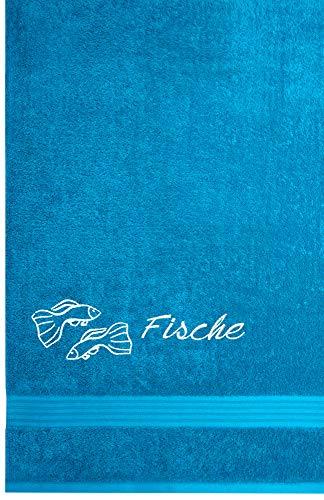 Lashuma Linz Saunalaken mit Tierzeichen Fische Stickerei, Sauna Tuch 70 x 200 cm, Aquamarin Blau