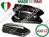 BAULE BAULI PORTATUTTO PORTAPACCHI BOX SHUTTLE AUTO OMOLOGATO NERO LUCIDO 430 LT UNIVERSALE. BAULE...