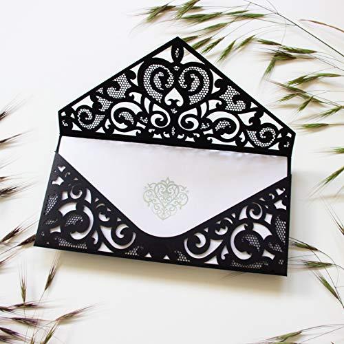 Invitaciones Negro pájaros blancos de boda cortadas con láser nvitaciones de boda cumpleaños infantil de comunion bautizo Luxury hazlo tu mismo en casa! Ejemplo !!!