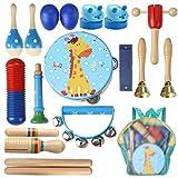 打楽器セット 楽器おもちゃ 子供用 18点セット 木製 打楽器おもちゃ 知育玩具 音楽学習 収納バッグ付き