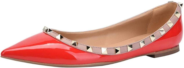 Jocbinltd Women shoes Rivets Flats Pointed Toe Ladies shoes Slip On Flat Heels Casual shoes Summer Women shoes Red